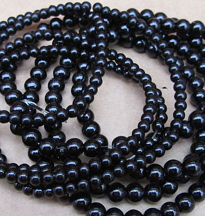 Glass Pearls - 4mm Black