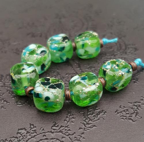 Lagoon Sparkle Cube Bead Set