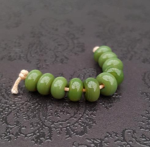 Olive Lampwork Spacer Beads
