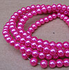 Glass Pearls - 6mm Hot Pink