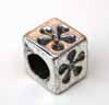 Large Hole Cube Beads - Flower