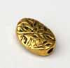 Etched Leaf Oval Beads - Gold