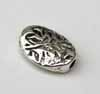 Etched Leaf Oval Beads -Silver