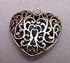 Large Filigree Heart Pendant - Bronze