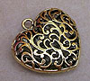 Large Filigree Heart Pendant - Gold