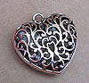 Large Filigree Heart Pendant - Silver