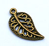Filigree Leaf Charm - Bronze/Vintage
