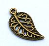 Filigree Leaf Charm - Bronze/Vintage