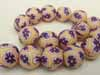 Polymer Clay Beads - 16mm Banana/Purple
